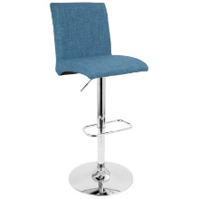 Tintori Height Adjustable Contemporary Barstool with Swivel in Blue