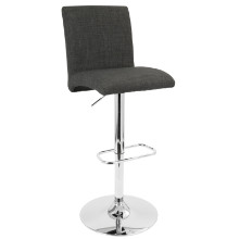 Tintori Height Adjustable Contemporary Barstool with Swivel in Charcoal