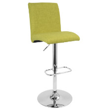 Tintori Height Adjustable Contemporary Barstool with Swivel in Green