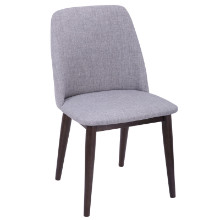 Tintori Mid-Century Dining Chairs in Walnut with Light Grey Fabric - Set of 2