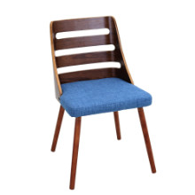 Trevi Mid-Century Modern Dining Chair in Blue Fabric and Walnut wood