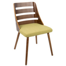 Trevi Mid-Century Modern Dining Chair in Green Fabric and Walnut wood