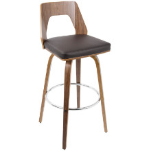 """Trilogy 30"""" Fixed Height Mid-Century Modern Barstool In Walnut And Brown"""