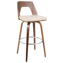 Trilogy Mid-century Modern Barstool in Walnut  and  Cream