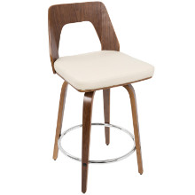 Trilogy Mid-Century Modern Counter Stool in Walnut Wood and Cream PU