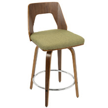 Trilogy Mid-Century Modern Counter Stool in Walnut Wood and Vintage Green Fabric