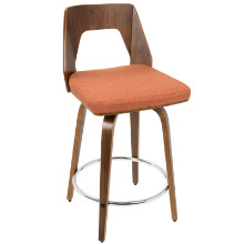 Trilogy Mid-Century Modern Counter Stool in Walnut Wood and Orange Fabric