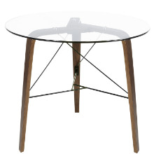 Trilogy Contemporary Dining Table in Walnut Wood and Glass