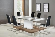 Best master U626-7pc-BLK 7 pc Everett glossy white finish wood modern dining table set black chairs