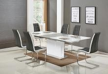 Best master U626-7pc-GRY 7 pc Everett glossy white finish wood modern dining table set gray chairs