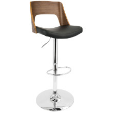 Valencia Height Adjustable Mid-century Modern Barstool with Swivel in Walnut and Black