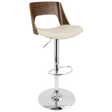 Valencia Height Adjustable Mid-century Modern Barstool with Swivel in Walnut and Cream