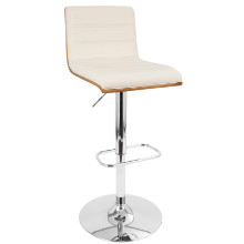 Vasari Height Adjustable Mid-century Modern Barstool with Swivel in Walnut and Cream