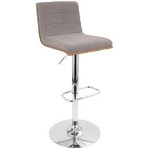 Vasari Height Adjustable Mid-century Modern Barstool with Swivel in Walnut and Grey Fabric Seat