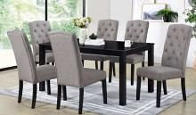 Venice-7PC 7 pc Latitude run cliett vanice espresso finish wood fabric chairs dining table set