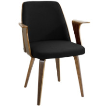 Verdana Mid-Century Modern Dining Chair in Black Fabric and Walnut wood