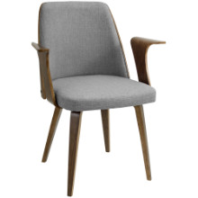 Verdana Mid-Century Modern Dining Chair in Grey Fabric and Walnut wood