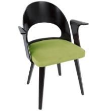 Lumisource CH-VRNO-E-GN Verino Mid-Century Modern Dining Chair in Espresso and Green Velvet