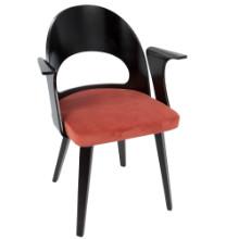 Verino Mid-Century Modern Dining Chair in Espresso and Orange Velvet