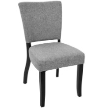 Vida Contemporary Dining Chair with Nailhead Trim in Light Grey - Set of 2