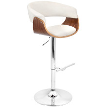 Vintage Mod Height Adjustable Mid-century Modern Barstool with Swivel in Walnut and Cream