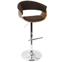 Vintage Mod Height Adjustable Mid-century Modern Barstool with Swivel in Walnut and Espresso