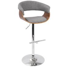Vintage Mod Mid-Century Modern Adjustable Barstool in Walnut and Light Grey with Swivel