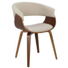Vintage Mod Mid-century Modern Chair in Walnut and Cream
