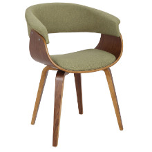 Vintage Mod Mid-Century Modern Chair in Walnut and Green
