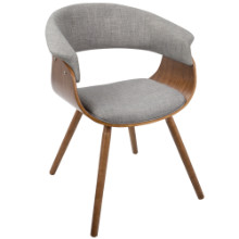 Vintage Mod Mid-Century Modern Chair In Walnut And Light Grey