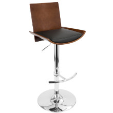 Vittorio Height Adjustable Mid-century Modern Barstool with Swivel in Cherry and Black