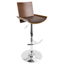 Vittorio Height Adjustable Mid-century Modern Barstool with Swivel in Walnut and Brown