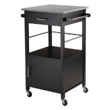 Davenport Kitchen Cart with Granite Top Black