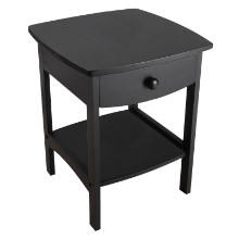 20218 Claire Curved Accent Table, Nightstand, Black