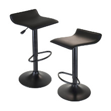 Obsidian Set of 2 Adjustable Swivel Air Lift Stool, Backless, Black PVC Seat, Black Metal Post and Base