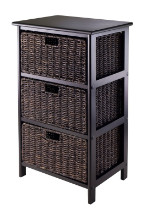 20317 Omaha Storage Rack, 3 Storage Baskets, Black
