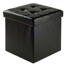 20415 Ashford Square Storage Ottoman, Black