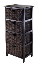 20418 Omaha Storage Rack, 4 Storage Baskets, Black