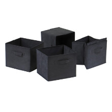 Capri Set of 4 Foldable Black Fabric Baskets