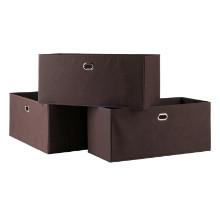 Torino 3-Pc Set Folding Fabric Baskets Chocolate