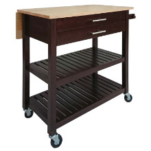 40826 Langdon Drop Leaf Kitchen Cart, Two-Tone Finish