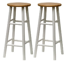 53780 Tabby Bar Stools, 2-Pc Set, Natural & White