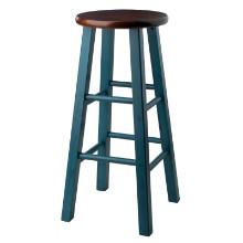 "Ivy 29"" Bar Stool Rustic Teal w/ Walnut Seat"