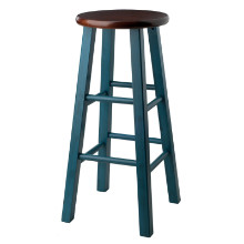 "Ivy 29"" Bar Stool Walnut/Turqouise"