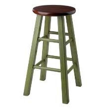 "Ivy 24"" Counter Stool Rustic Green w/ Walnut Seat"