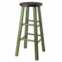 64230 Ivy Bar Stool, Rustic Green & Walnut