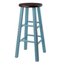 65230 Ivy Bar Stool, Rustic Light Blue & Walnut