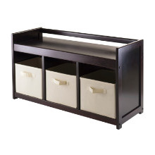 Addison 4pc Storage Bench with 3 Foldable Fabric baskets in Beige