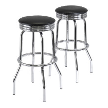 93028 Summit Swivel Seat Stools, 2-Pc Set, Black & Chrome