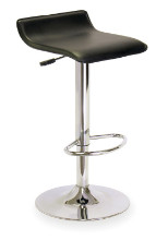 Single Airlift Swivel Stool with Black Faux Leather Seat